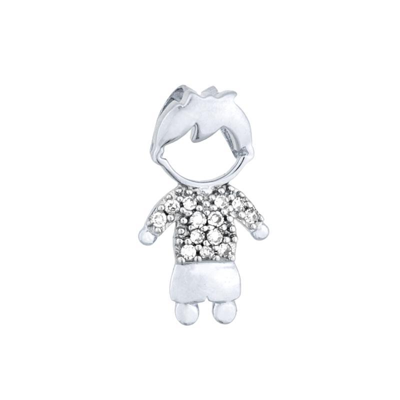 Pingente Menino com Diamantes Ouro branco 18k