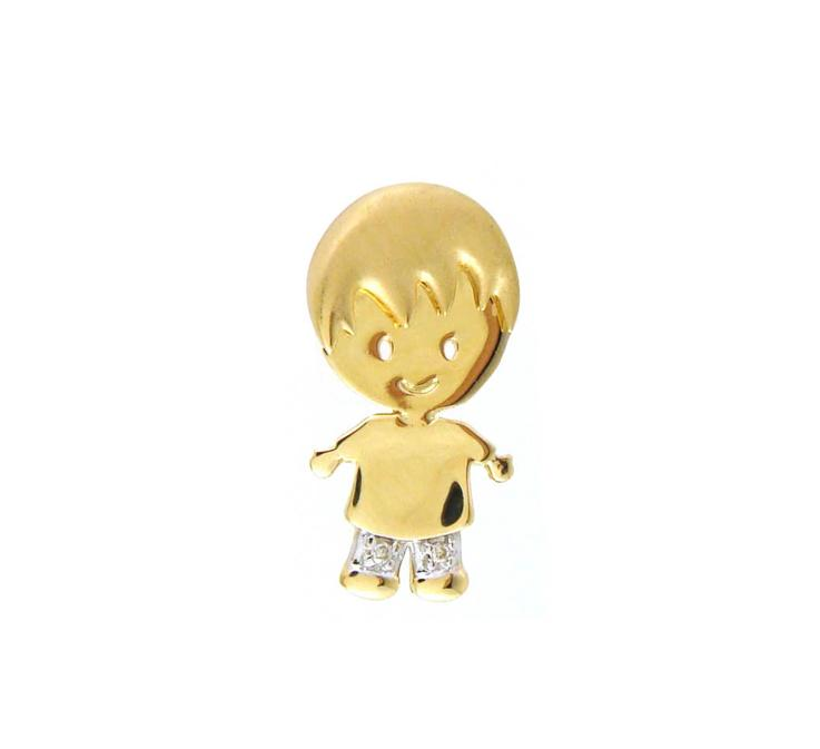 Pingente Menino Diamantes Ouro 18k