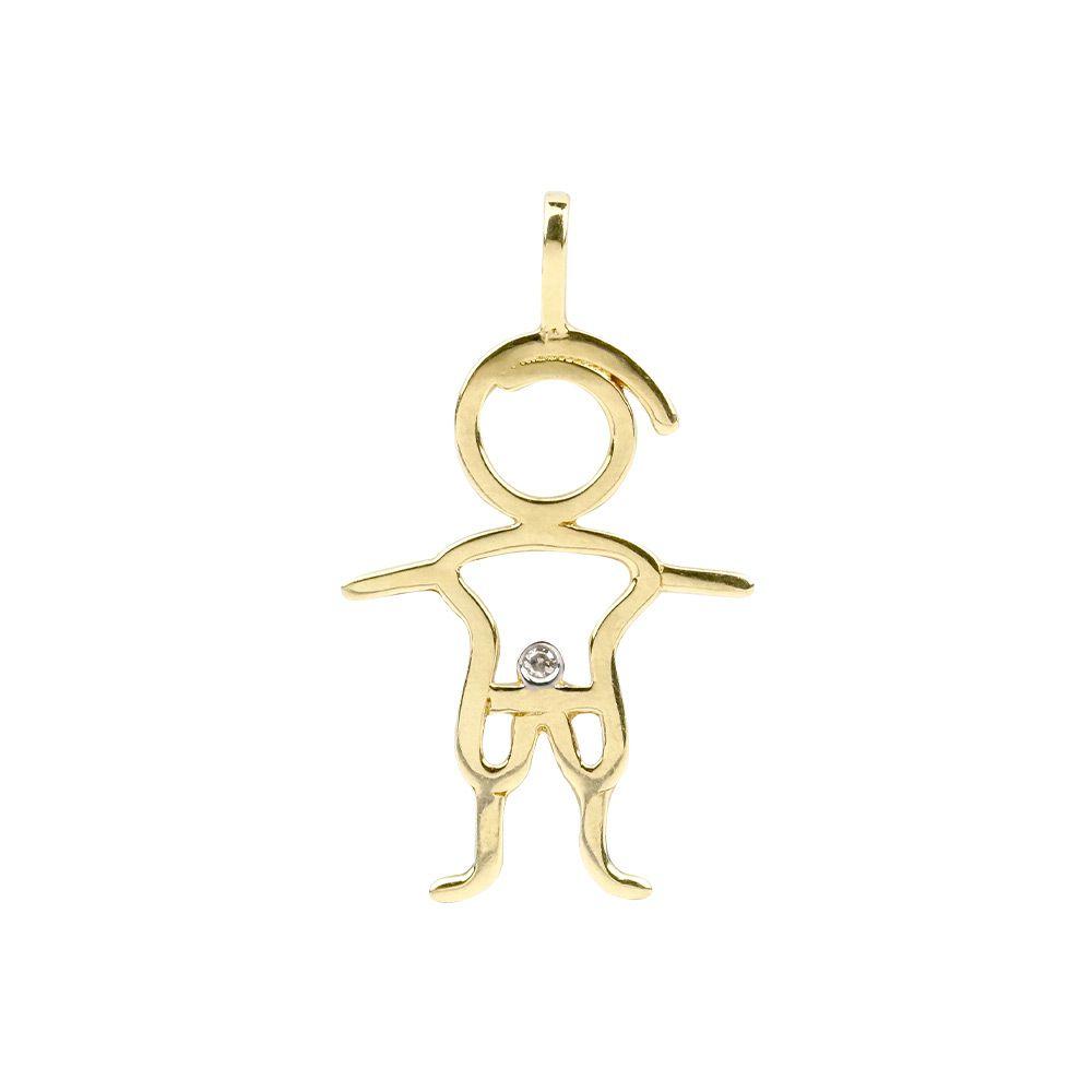 Pingente Menino Ouro 18k com Diamante