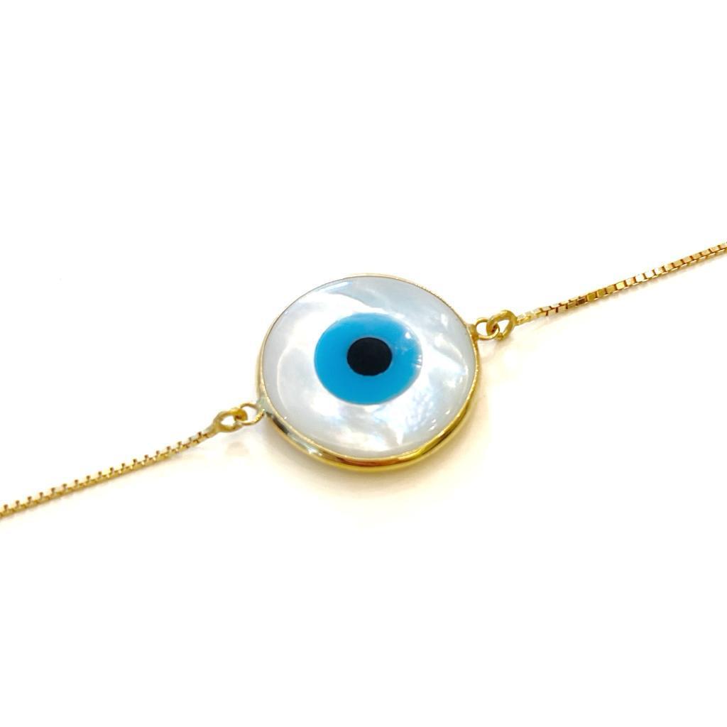 Pulseira Olho Grego Ouro 18k Madrepérola
