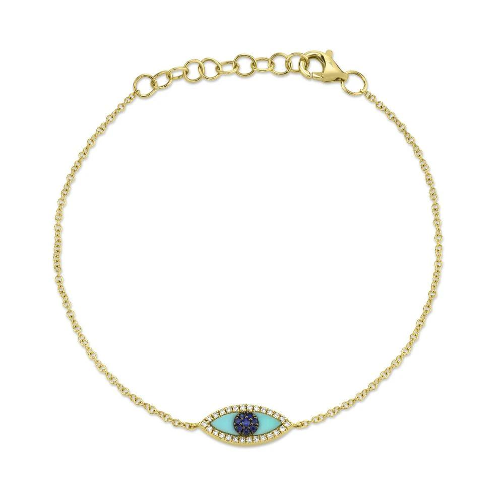 Pulseira Olho Grego Ouro 18k, Turquesa, Safiras e Diamantes