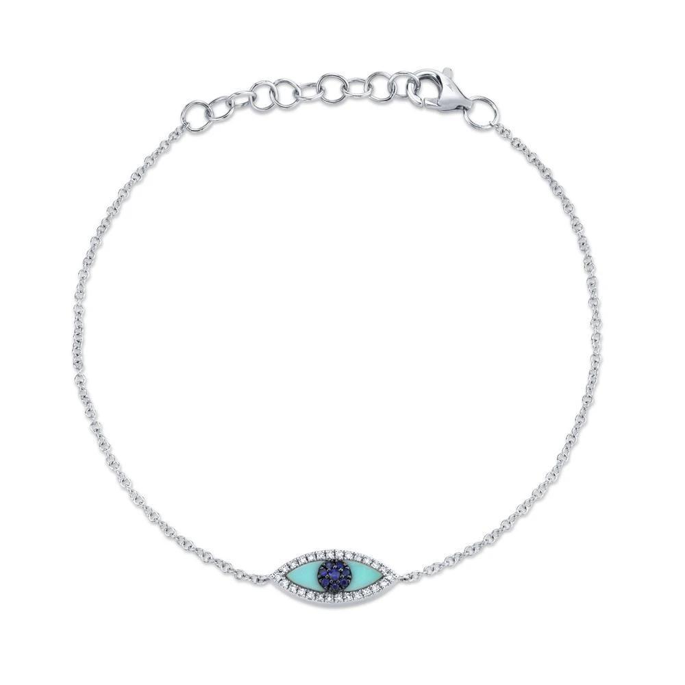Pulseira Olho Grego Ouro branco 18k, Turquesa, Safiras e Diamantes