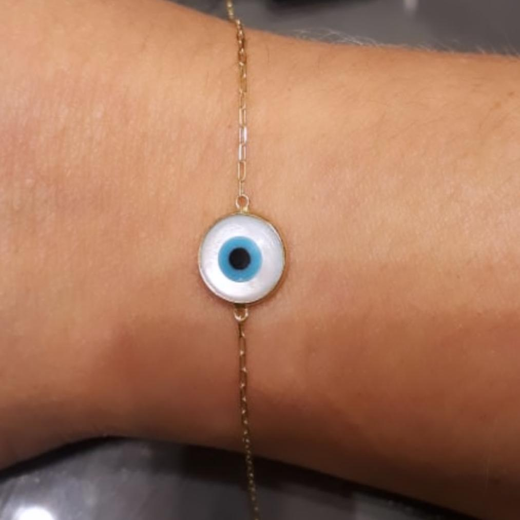 Pulseira Olho Grego P Ouro 18k Madrepérola