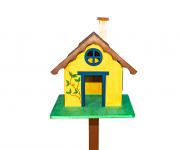 Casa Pássaro Em Pinho Para Jardim E Varanda - Amarelo
