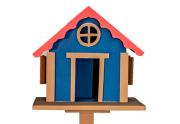 Casa Pássaro Em Pinho Para Jardim E Varanda - Azul