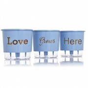 Conjunto Vaso 03 - Love Grows Here - Azul Serenity