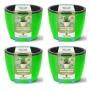 Kit 4 Vasos Elegance Autoirrigavel 03 Verde Neon