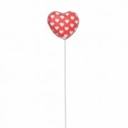 Pick Coração Decorado Vermelho / Branco 5,5 x 4,5 Cms