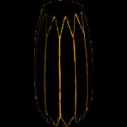 Vaso De Vidro Preto Dourado