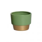 Vaso Para Suculenta Verde e Dourado P Nove - 5753