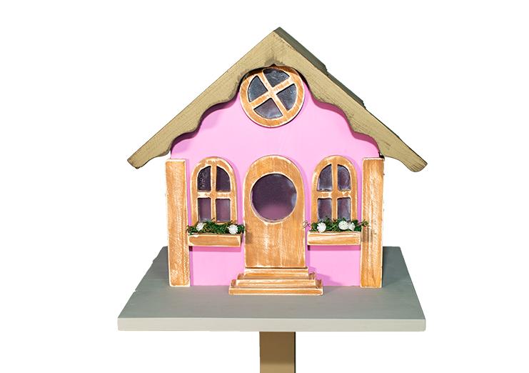 Casa Pássaro Em Pinho Para Jardim E Varanda - Rosa