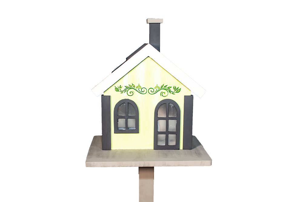 Casa Pássaro Em Pinho Para Jardim E Varanda - Verde