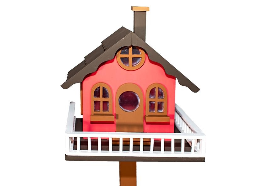 Casa Pássaro Em Pinho Para Jardim E Varanda - Vermelho