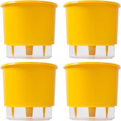 Kit 4 Vasos Autoirrigavel 03 Amarelo