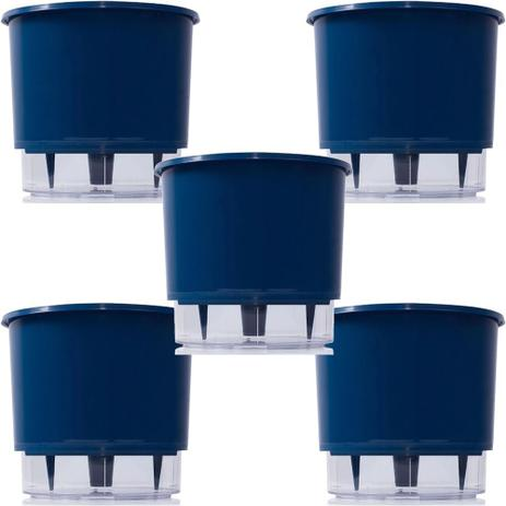 Kit 5 Vasos Autoirrigavel 02 Azul Escuro