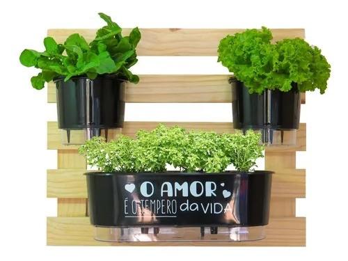 Kit Horta Treliça 60 x 60 Com 2 Vasos E Jardineira Autoirrigável