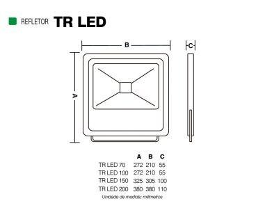 Refletor Tr Led 70W 6500K Preto-Der/02 Preto