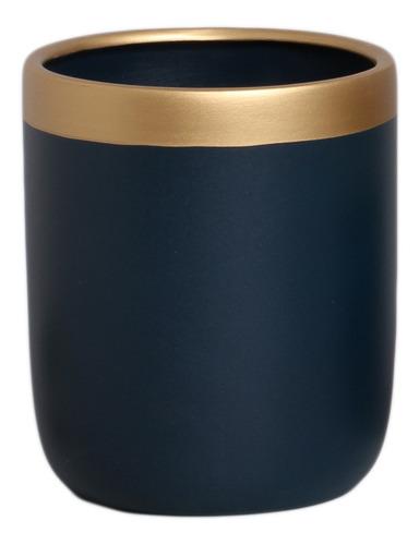 Vaso Para Suculenta Azul e Dourado M Novel - 5754
