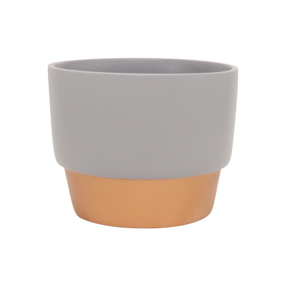 Vaso Para Suculenta Cinza e Bronze P Novel - 5760