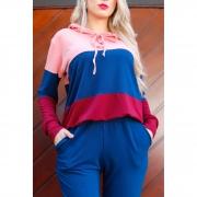 Conjunto moletinho blusa tricolor capuz