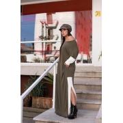 Vestido longo viscolycra bicolor