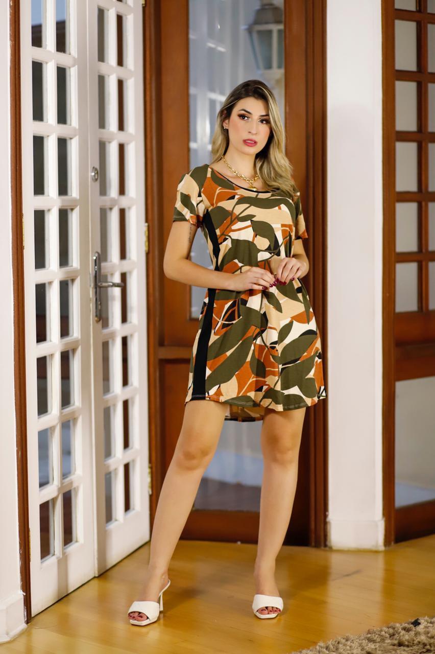 Vestido curto viscolycra com faixa lateral