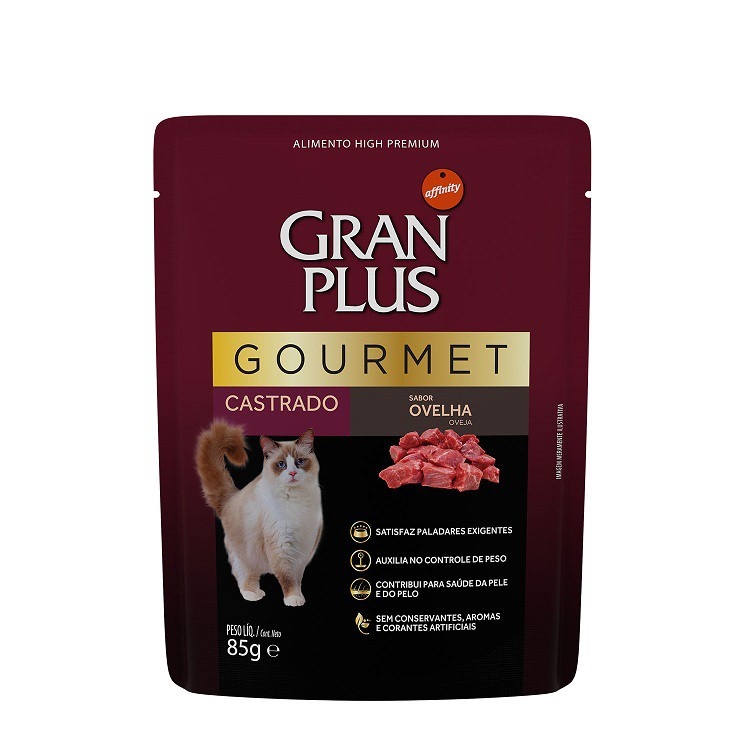 GRAN PLUS SACHÊ GATO GOURMET CASTRADO OVELHA 85 g