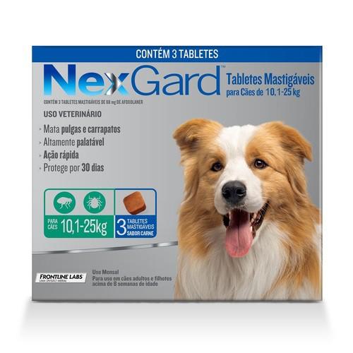 NEXGARD COM 3 UNIDADES 10,1 a 25 Kg 68 mg