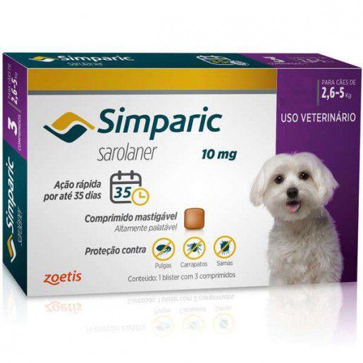 SIMPARIC 10 mg 3 COMPRIMIDOS (2,6 a 5 Kg)