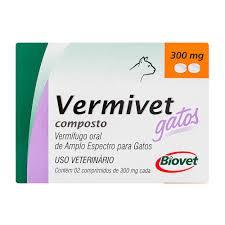VERMIVET COMPOSTO GATOS 300mg COM 2 COMPRIMIDOS