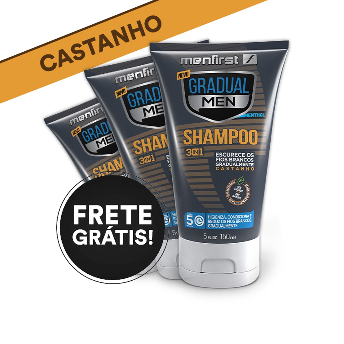 SHAMPOO GRADUAL MEN CASTANHO - CABELO (3x)