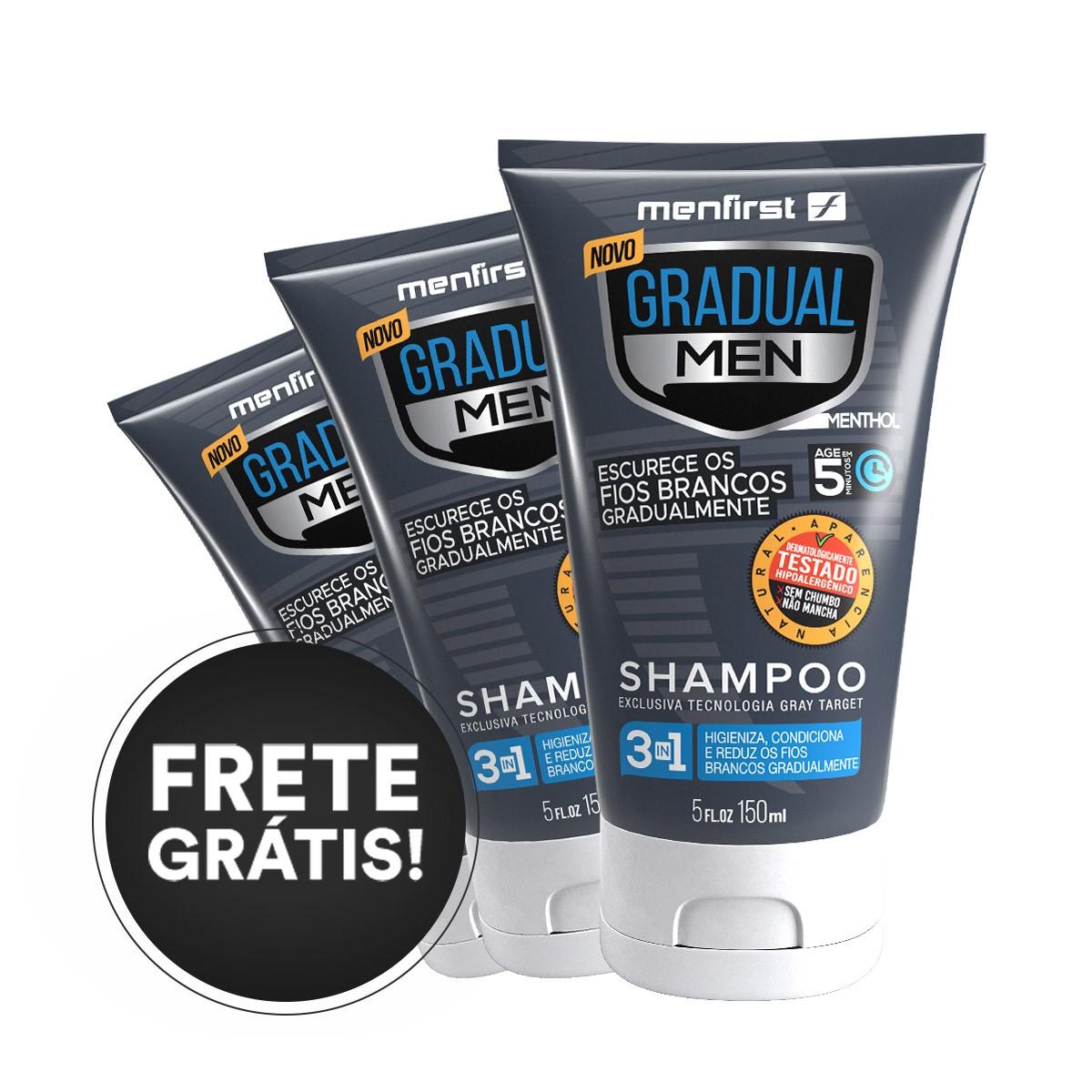 Shampoo Menfirst Gradual Men Cabelo (3x) - Escurecedor de cabelo branco