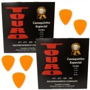 2 Encordoamento Cavaquinho Touro + 5 Palhetas Dunlop .67 mm