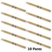 Baqueta 5a Ponta de madeira Spanking Par Kit c/ 10