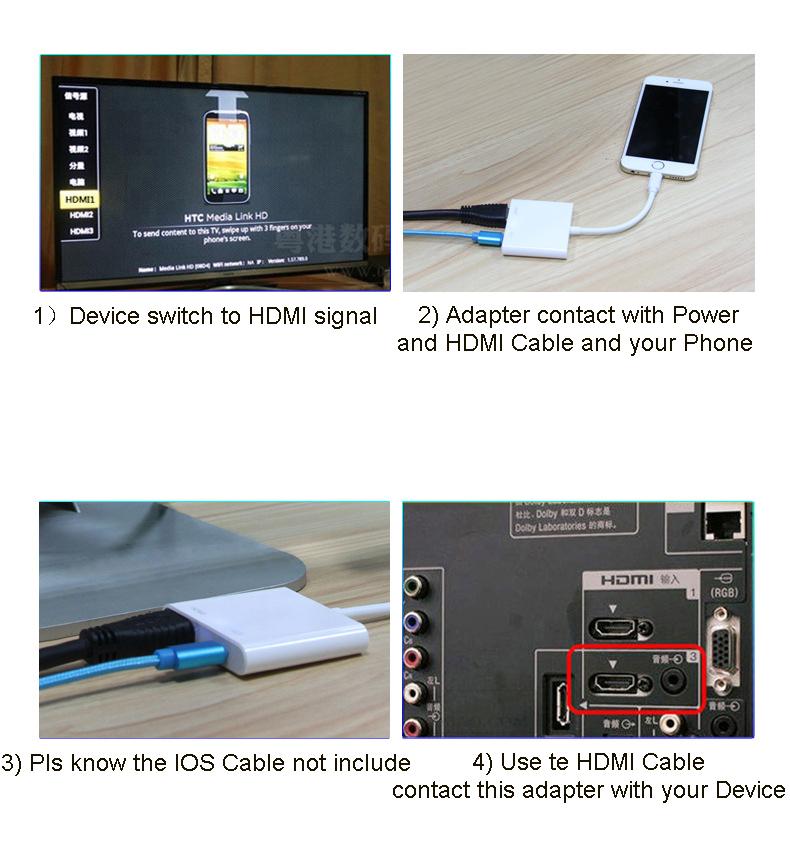 Cabo Adaptador Lightning Hdmi Usb iPhone iPad