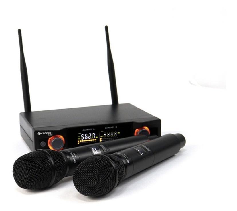 Microfone Duplo Dinâmico Kadosh Kdsw 402m Sem Fio