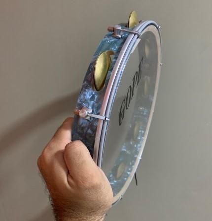 Pandeiro Gope 12 pol Super Leve Azul Pele Cristal