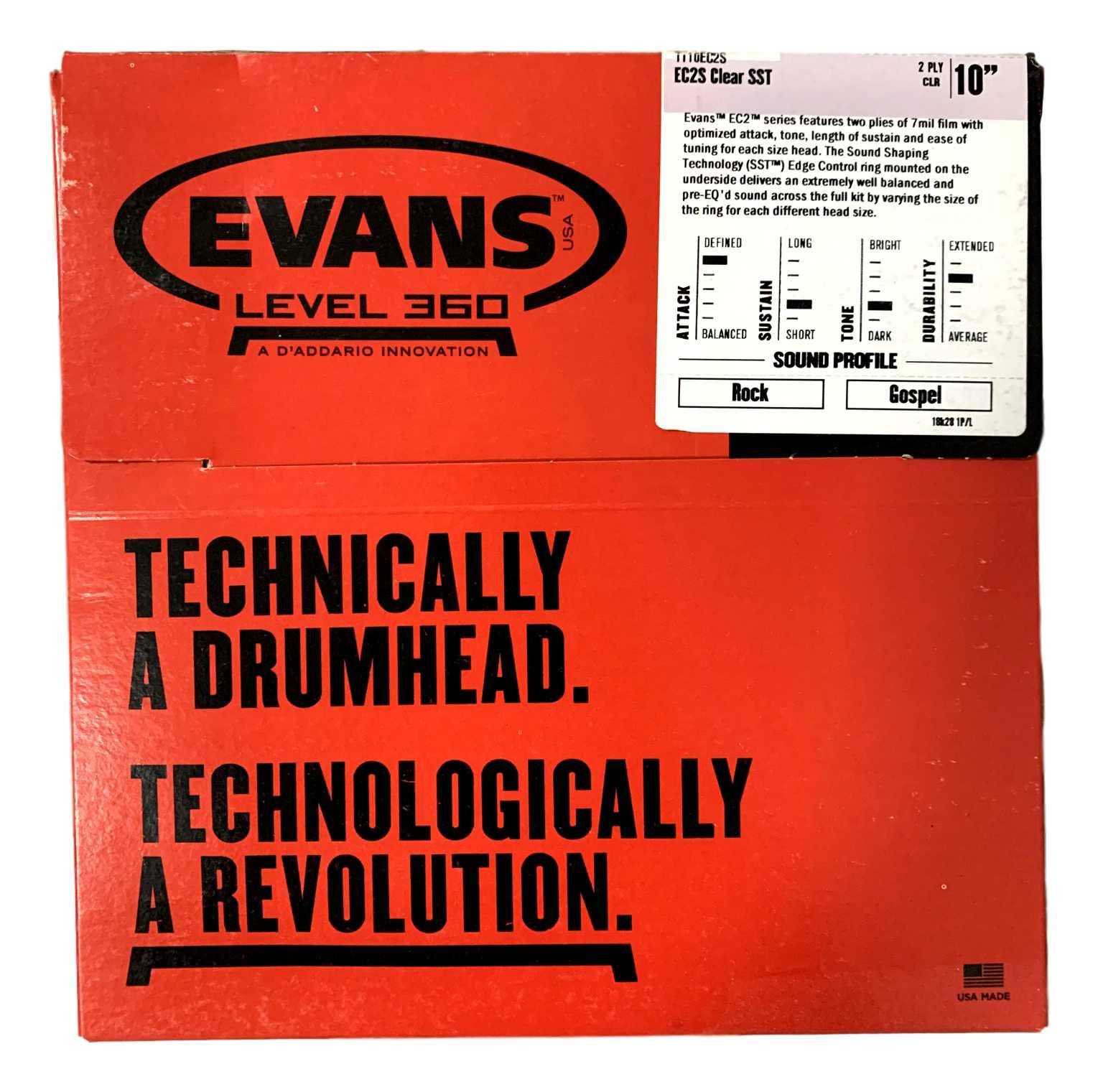 Pele Para Tom Bateria Evans Ec2s 10 Polegadas Tt10ec2s