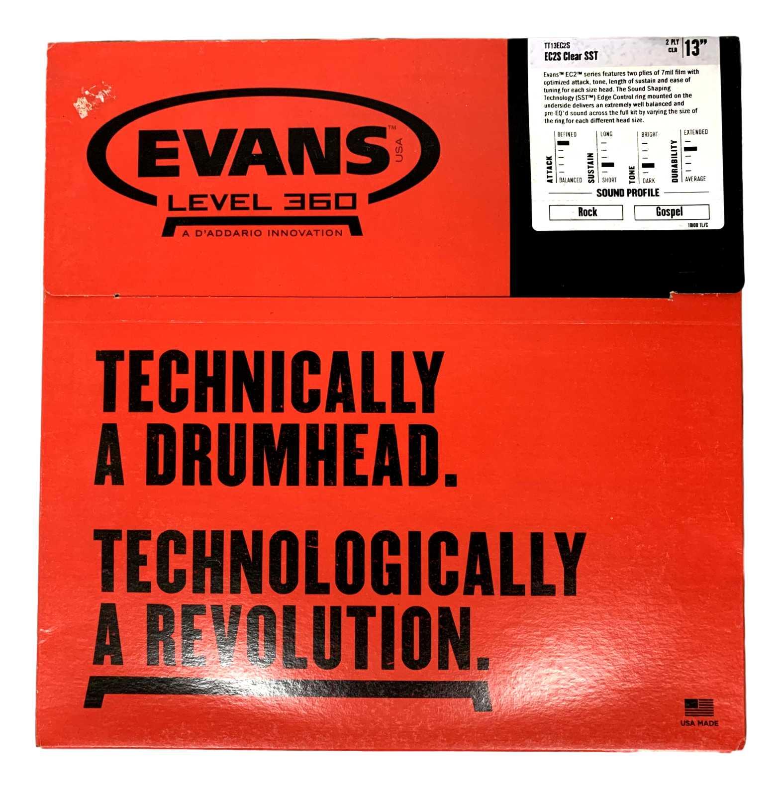 Pele Para Tom Bateria Evans Ec2s 13 Polegadas Tt13ec2s