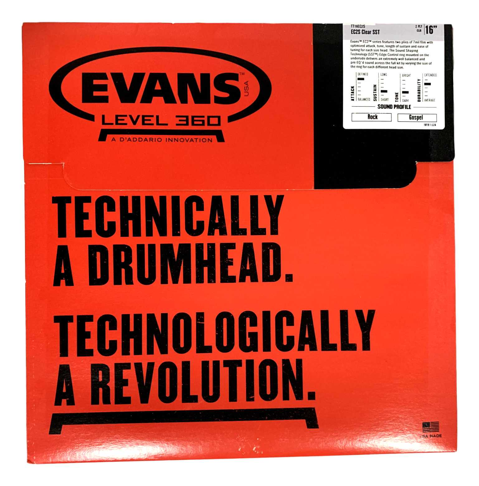 Pele Para Surdo Bateria Evans 16 Polegadas Ec2s Tt16ec2s