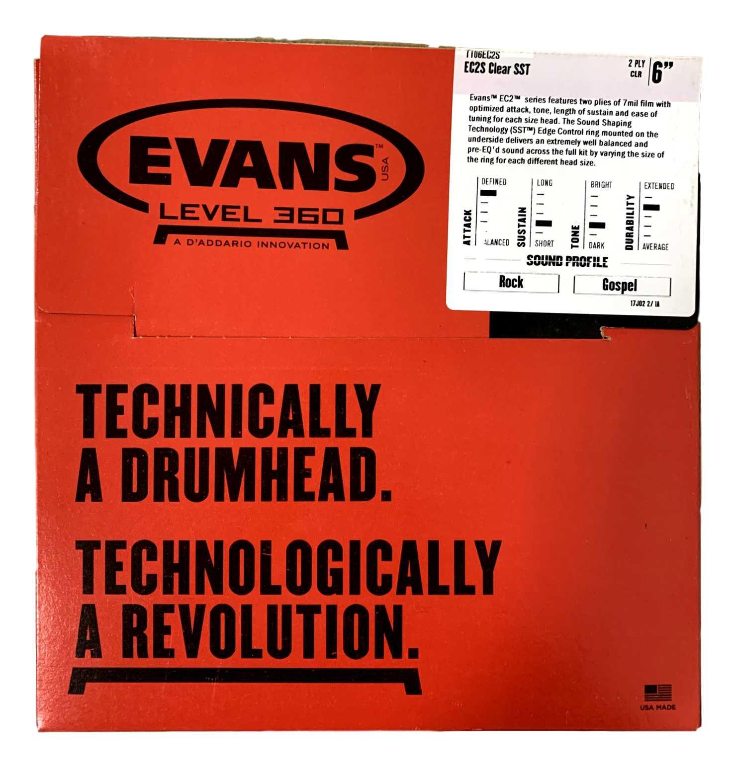 Pele Para Tom Bateria Evans Ec2s 06 Polegadas Tt06ec2s