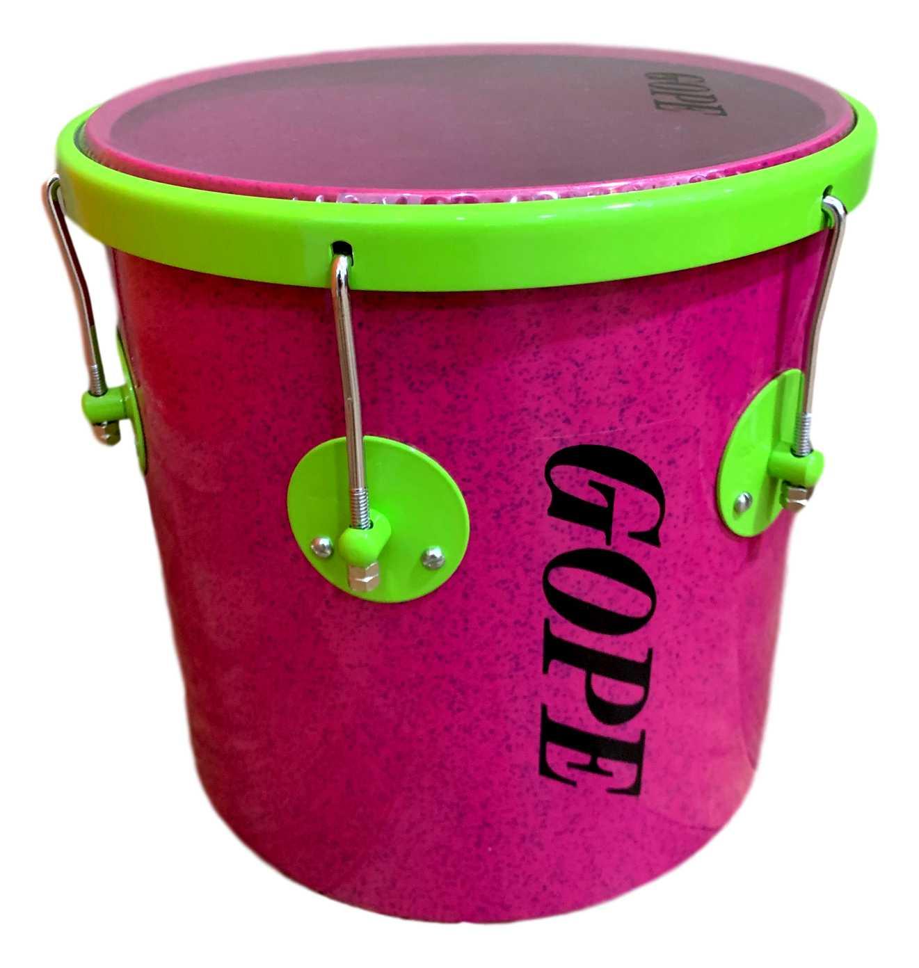 Repique de Mão Gope 11 pol Rosa e aro Verde Limao Pele Cristal