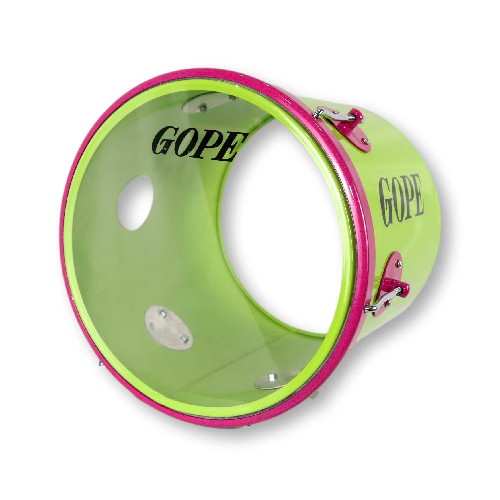 Repique de Mão Gope 11 pol Verde Limao e aro Rosa Pele Cristal
