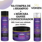 Compre 1 Shampoo + 1 Máscara Matizadora Voken - GANHE 1 CONDICIONADOR