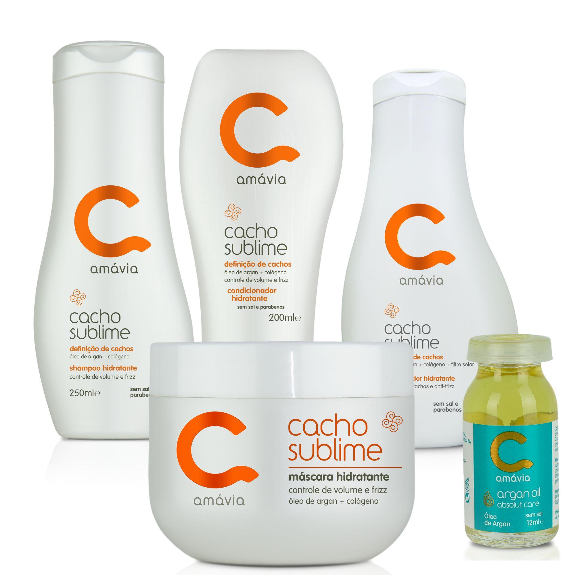 Kit Hidratante Cacho Sublime (Shampoo + Condicionador + Máscara + Umidificador + Óleo de Argan)
