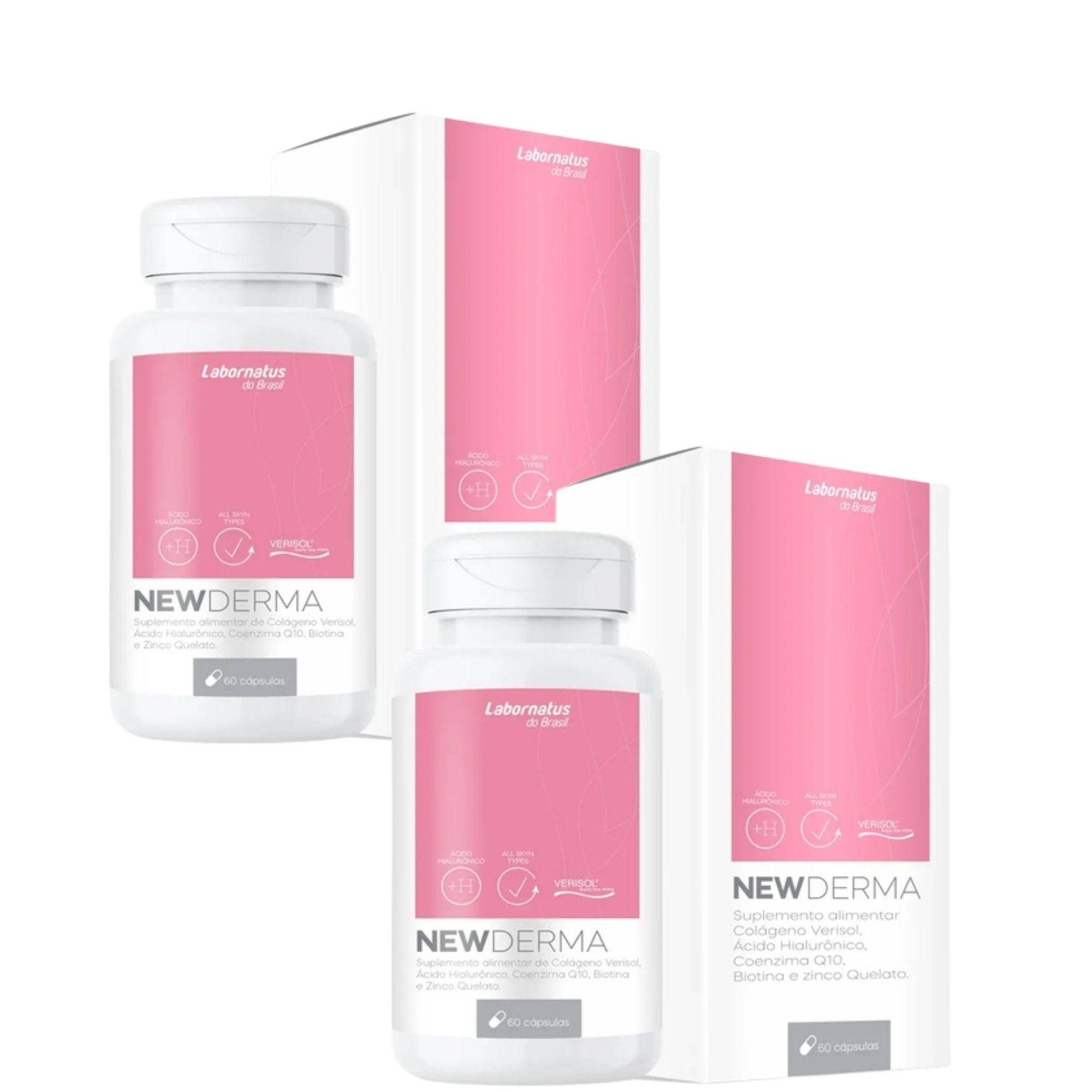 LB - Combo NEW DERMA (Colágeno Verisol Biotina Ácido Hialurônico ) 120CAPS 500mg