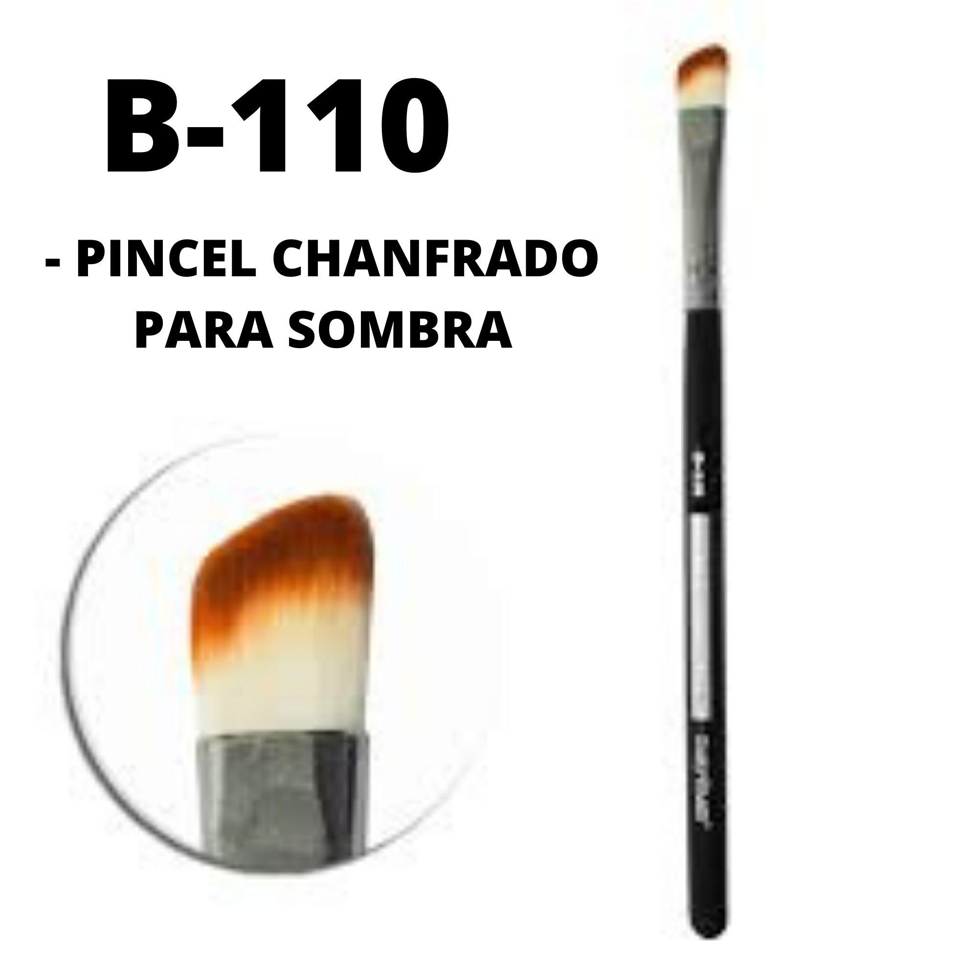 Pincel Chanfrado Para Sombra B110 Linha Black Profissional Macrilan