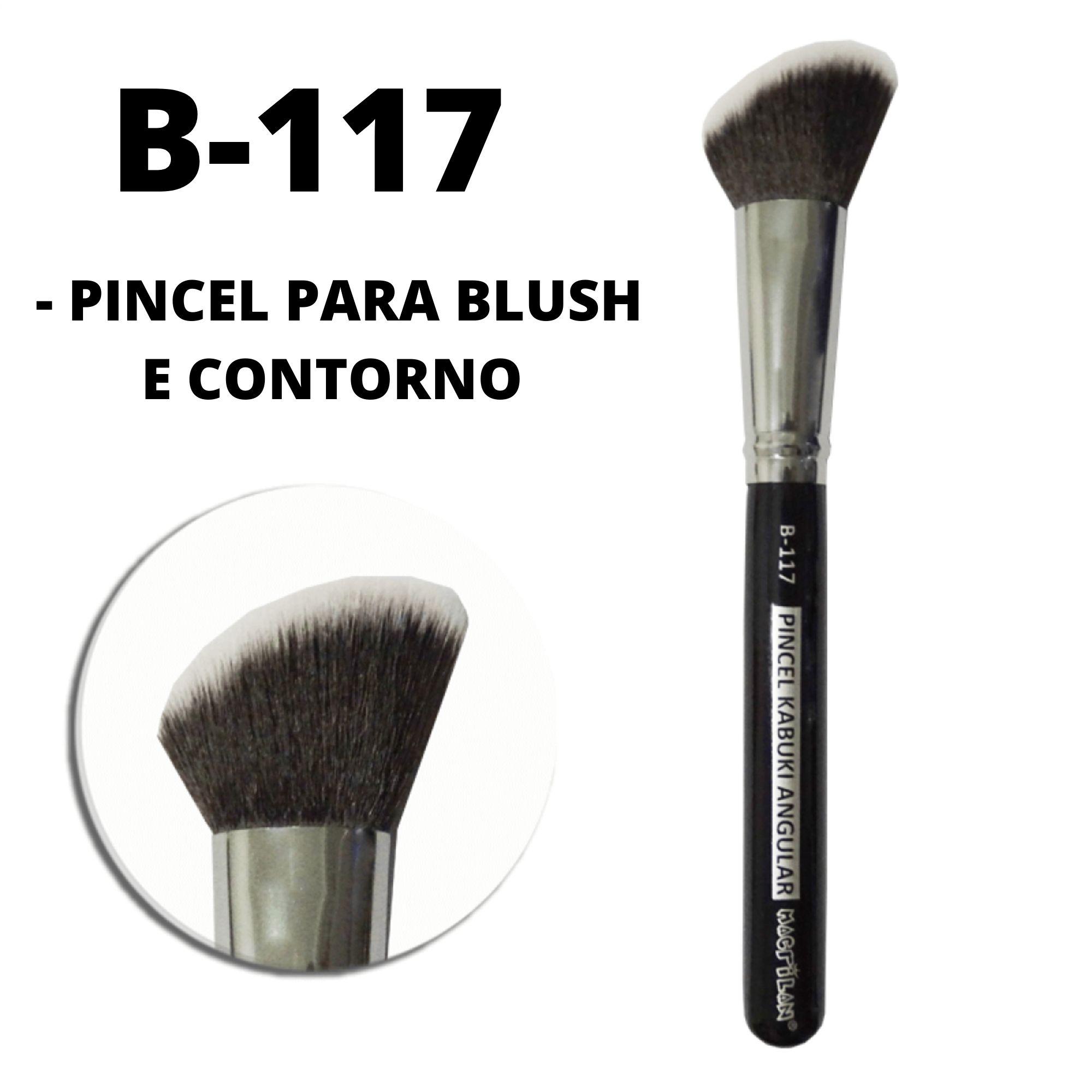 Pincel Kabuki Angular Linha B117 Black Profissional Macrilan