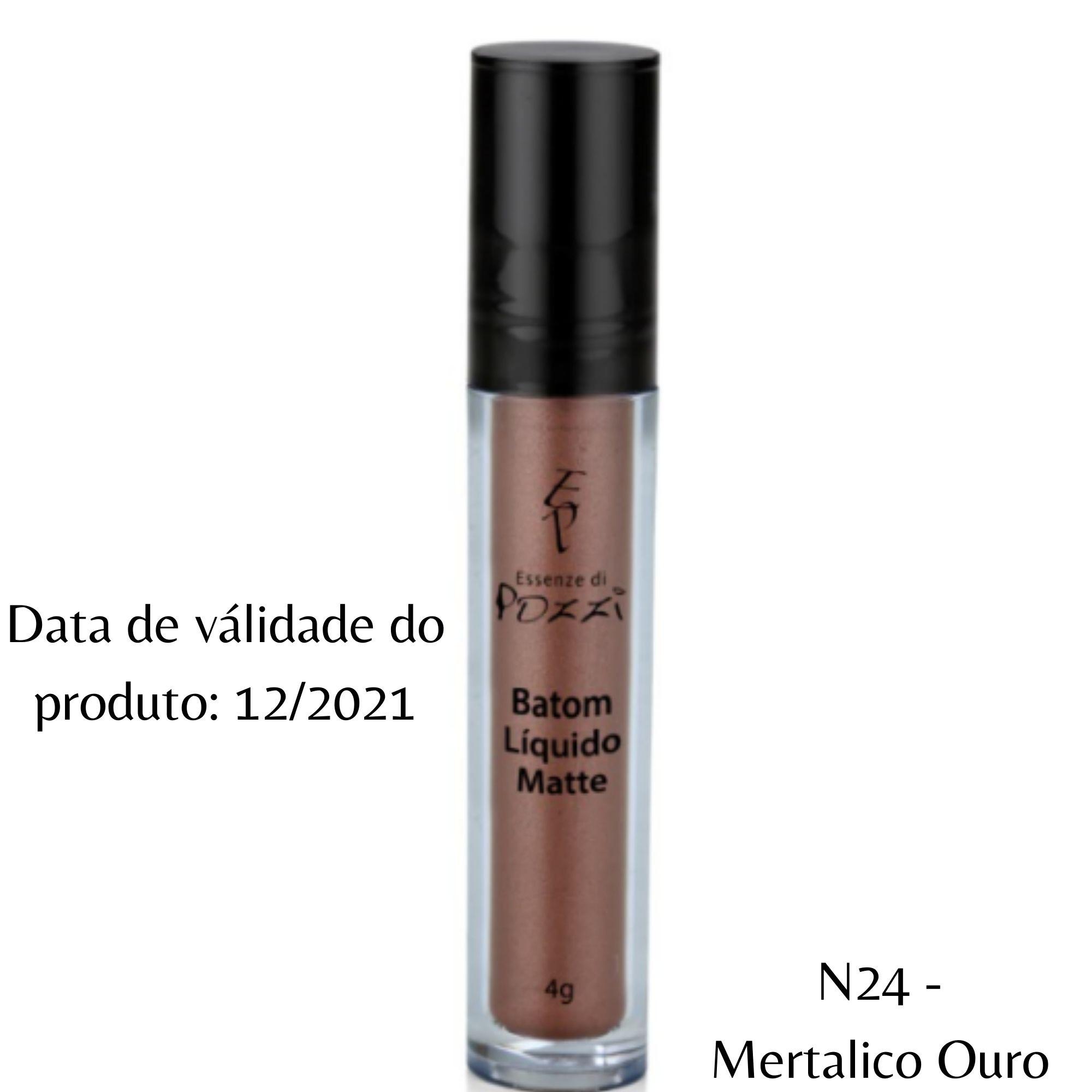 Pozzi - Batom Liquido Matte N° 24 Mertalico Ouro - Válidade 12/2021