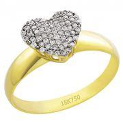 Anel Chuveiro Coração em Ouro 18K Amarelo Cravejado com Zircônias